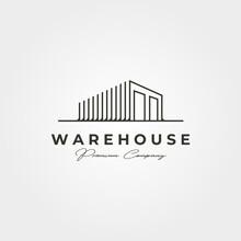 Warehouse Storage Line Art Logo Vector Illustration Design, Line Art Style