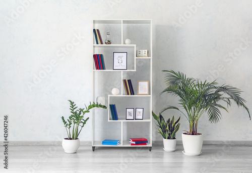 Fototapeta Modern interior with shelf unit and books in room obraz na płótnie