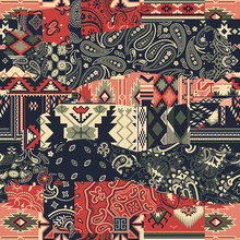 Bandana Paisley And Native American Motifs  Fabric Patchwork Abstract Vector Seamless Pattern