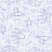 Denim Blue White Fish Linen Texture. Seamless Textile Effect Background. Weathered Indigo Dye Pattern. Coastal Cottage Beach Home Decor. Rustic Vintage Sealife Animal Marine Fabric Material Tile.