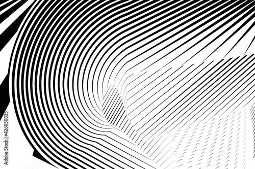 Slika na platnu Geometric dynamic pattern, halftone lines background, vector modern design texture