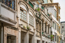 Details Of Facade Of Old Colonial Sotto Portico Buildings In Xinmin West Road Haikou Qilou Old Town Hainan China