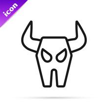 Black Line Buffalo Skull Icon Isolated On White Background. Vector