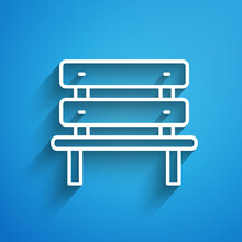 White Line Bench Icon Isolated On Blue Background. Long Shadow. Vector