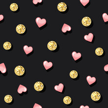 Glitter Confetti Polka Dot Seamless Pattern Background. Golden Dots And Pink Hearts. For Birthday, Valentine And Scrapbook Design. Vector