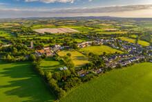 Aerial Vista Of The Rural Village Of Morchard Bishop, Devon, England, United Kingdom