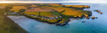 Aerial Panorama Of Porthcothan Bay And Rugged Cornish Coastline At Dawn, Cornwall, England, United Kingdom