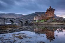 Eilean Donan Castle On Loch Duich In The Scottish Highlands, Scotland, United Kingdom