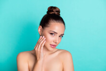 Photo Of Young Dreamy Lovely Woman Apply Lifting Cream Lotion On Cheeks Wear No Clothes Isolated On Teal Color Background