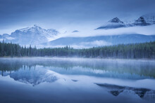 Moody Misty Morning At Herbert Lake In The Canadian Rockies, Banff National Park, UNESCO World Heritage Site, Alberta, Canada