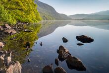 Peaceful Llyn Dinas On A Still Spring Morning, Snowdonia National Park, Wales, United Kingdom