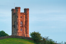 Late Evening Sunlight On Broadway Tower In The Cotswolds In Spring, Gloucestershire, England, United Kingdom
