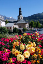 Colourful Flowers In The Village Of Saint Gervais Les Bains In The French Alps, Haute-Savoie,  France