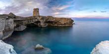 Torre Miggiano Old Tower And Crystal Sea At Sunset, Santa Cesarea Terme, Porto Miggiano, Lecce Province, Salento, Apulia, Italy