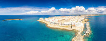 Aerial Panoramic Of White Buildings In The Seaside Town Of Gallipoli, Lecce Province, Salento, Apulia, Italy