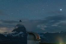 Stars Over Matterhorn Viewed From The Observatory Tower Of Kulmhotel Gornergrat, Zermatt, Canton Of Valais, Switzerland