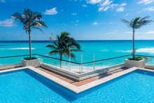 Swimming Pool Over The Turquoise Waters Of Cancun, Quintana Roo, Mexico