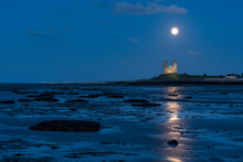 Full Moon Rising Over Reculver Towers, Beach At Low Tide, Reculver, Herne Bay, Kent, England, United Kingdom
