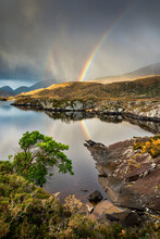 Rainbow And Rain Clouds Over Upper Lake, Killarney National Park, County Kerry, Munster, Republic Of Ireland