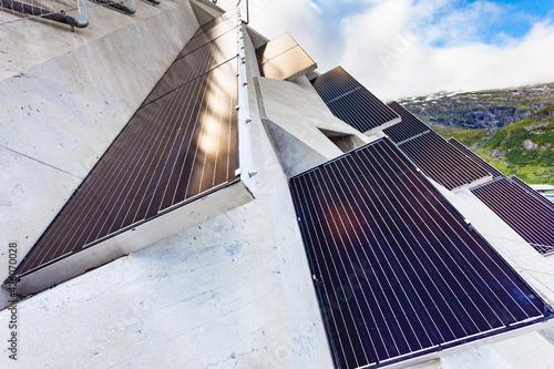 Solar panels on Utsikten viewpoint, Norway Wallpaper Mural