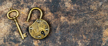 Escape Room Game Concept, Old Vintage Keys On And Padlock On A Rusty Grunge Metal Background, Web Banner