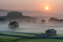 Fields And Barn At Sunrise, Looking Northeast From Hawes, Yorkshire Dales National Park, Yorkshire, England, United Kingdom