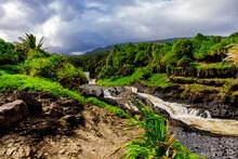 Beautiful Waterfall On Maui, Hawaii, United States Of America