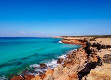 Rocky Coast Of Cala Saona, Formentera, Balearic Islands, Spain, Mediterranean