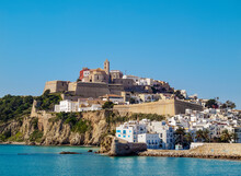 View Of The Old Town, Dalt Vila Of Eivissa, Ibiza, Balearic Islands, Spain, Mediterranean