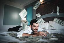Successful Businessmen Celebrates Success Under Money Rain Falling Down Dollar Bills . Finances Concept
