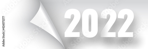 Fototapeta Happy New Year 2022 poster. White ribbon with curved edge on white background. Sticker. Vector illustration. obraz