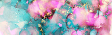 Art Photography Of Abstract Fluid Art Painting With Alcohol Ink, Blue, Pink And Gold Colors