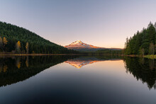 Mountt Hood Reflected In Trillium Lake At Sunset, Government Camp, Clackamas County, Oregon, United States Of America