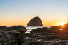 Haystack Rock At Cape Kiwanda At Sunset, Pacific City, Tillamook County, Oregon, United States Of America