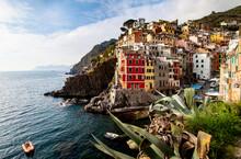Picturesque Village Of Riomaggiore In Cinque Terre, UNESCO World Heritage Site, Province Of La Spezia, Liguria Region, Italy