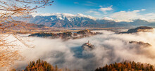 Panorama Of Lake Bled In The Julian Alps Of The Upper Carniolan Region, Northwestern Slovenia