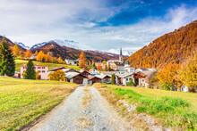 Traditional Swiss Village Called Santa Maria In Val Mustair, Canton Graubunden, Switzerland