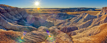 Panorama Of The Setting Sun At The First Forest In Petrified Forest National Park, Arizona, United States Of America