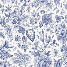 Bloom. Vintage Floral Seamless Pattern. Spring Flowers. Blue And White. Chinoiserie