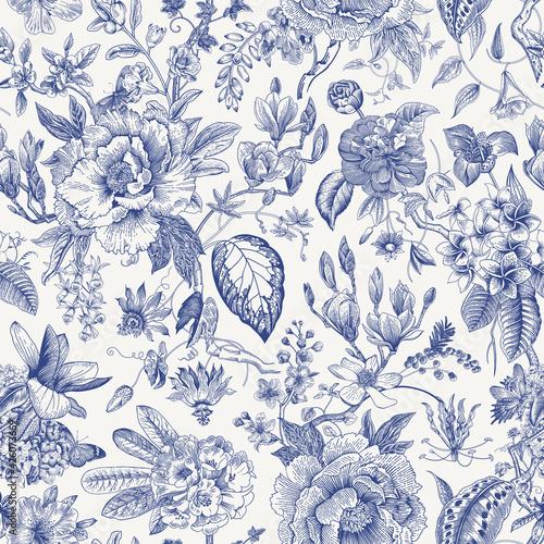 Tapety Tropikalne  kwiat-vintage-kwiatowy-wzor-wiosenne-kwiaty-niebieski-i-bialy-chinoiserie