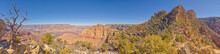 Panorama View Of Grand Canyon From The Bow Of The Sinking Ship Rock Formation, Grand Canyon National Park, UNESCO World Heritage Site, Arizona, United States Of America