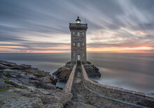 Long Exposure At Blue Hour At Kermorvan Lighthouse, Finistere, Brittany, France