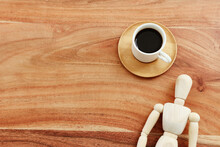 Top View Image Of Coffee Cup Over Wooden Table