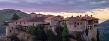 Panoramic On Varlaam Monastery At Sunrise, Meteora, UNESCO World Heritage Site, Thessaly, Greece
