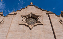 Exterior Of Stained Glass Rose Window Of Trinity Episcopal Cathedral In Phoenix, Arizona With An Interpretation Of The Star Of David Suggesting The Origins Of The Church
