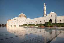 Sultan Qaboos Mosque Reflected In The Shiny Marble Floor, Muscat, Oman, Middle East