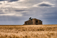 Ruins In A Wheat Field With Cloudy Sky, Valensole, Provence, France