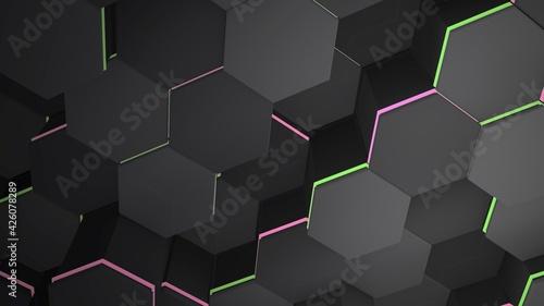 Canvastavla Dark big black hex grid background, abstract background