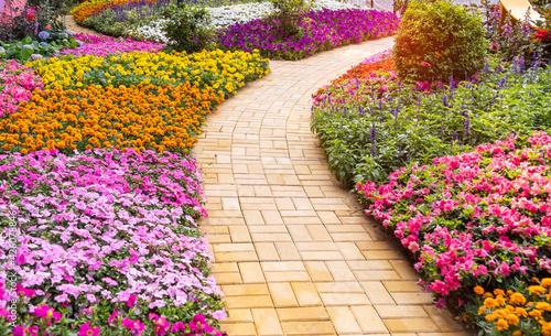 Obraz na plátne path leading through a flower garden