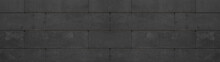 Black Anthracite Retaining Wall Garden From Concrete Shuttering Blocks Masonry Brickwork Wall Texture Banner Panorama